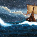 A digital illustration of a viking ship sailing through a snow storm.
