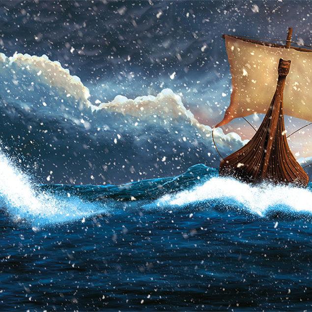 A digital illustration of a viking ship sailing through a snow storm.