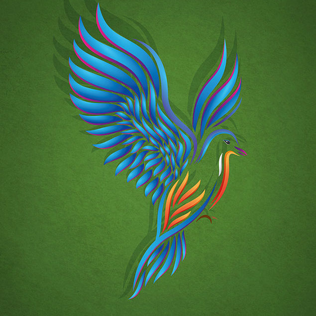 An image of a vibrant colour vector bird in mid flight.