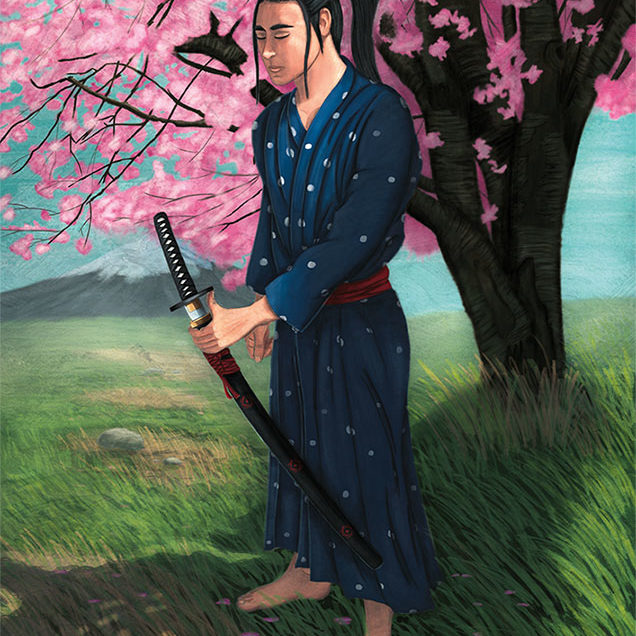 Digital Illustration of a Samurai in deep reflection under the shadow of a cherry blossom tree.