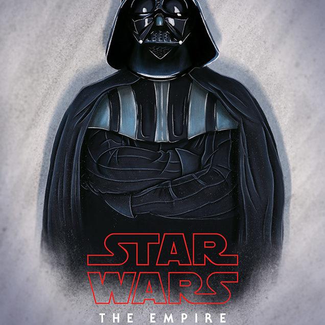 Darth Vader digital illustration, alternate movie poster of Star Wars: The Empire Strikes Back.