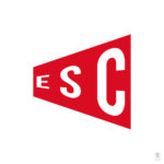 Typography logo ESC contained within a red polygon shape.