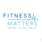 Blue fitness logo featuring a cardiogram for Watford based fitness company Fitness Matters.