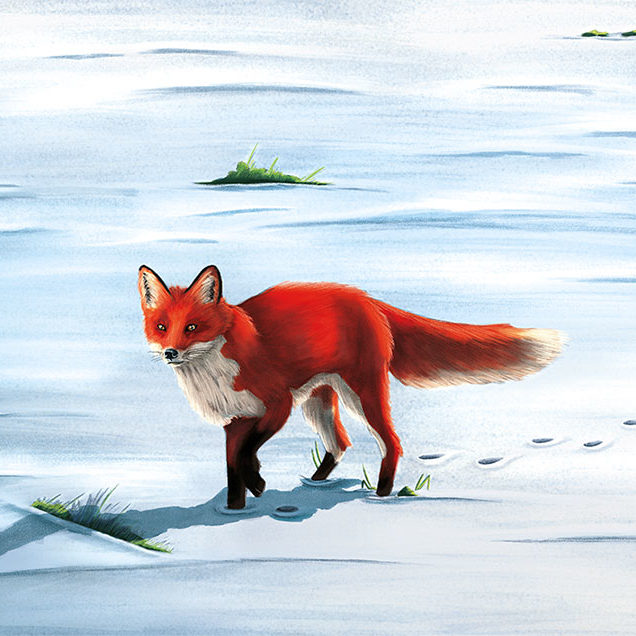 A digital illustration of a red fox walking in the snow.