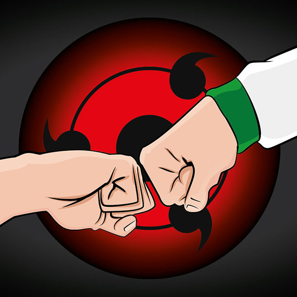 Vector illustration of two fists connecting in way of respect, with a red sharingan.