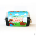 Front view of Green Fingers kit container featuring a cartoon farmer.