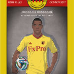 Front cover of Watford fanzine the Golden Pages featuring ABLG Design's illustration of Abdoulaye Doucouré.