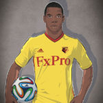 Vector illustration of Watford Football Club player Abdoulaye Doucouré.