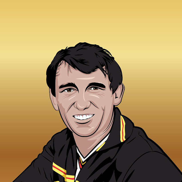 Tribute vector illustration of Graham Taylor on a gold background.