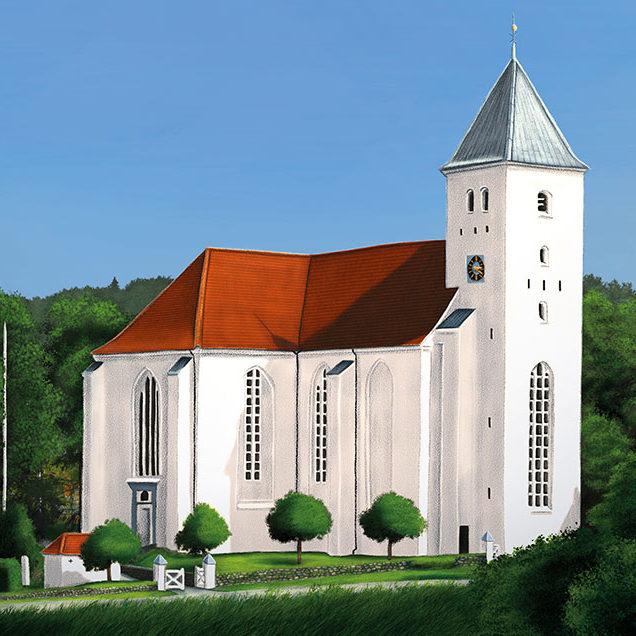Digital illustration of the church in Mariager, Denmark.