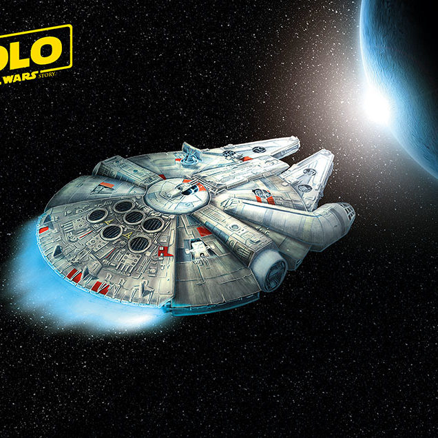 Alternate movie poster of Solo: A Star Wars Story featuring a digital painting of the Millennium Falcon.