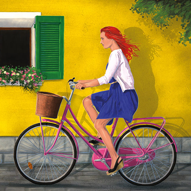 Digital illustration of a red haired woman cycling, in front of a yellow facade wall down a cobble street.