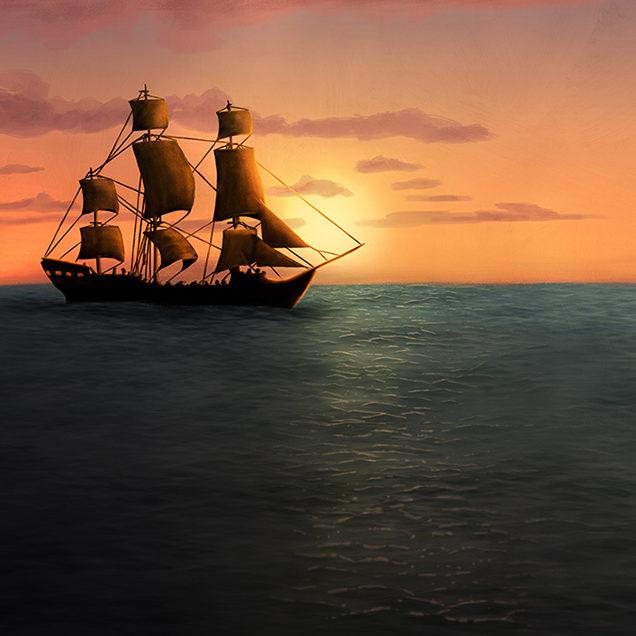 Digital illustration of a sail ship on the horizon.