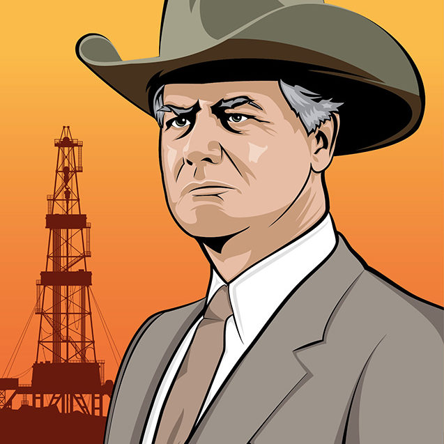 Vector illustration of JR Ewing from the American sitcom Dallas.