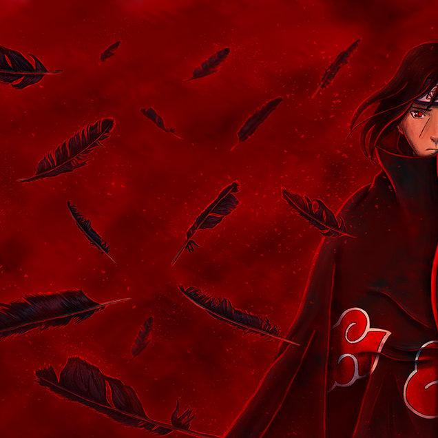 Digital illustration of Naruto character Itachi Uchiha surrounded by burning feathers.