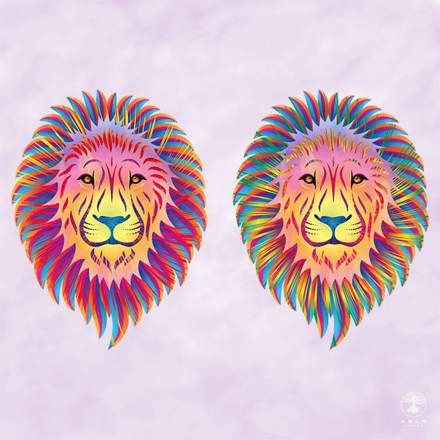 Vector illustration of two abstract lions in vibrant colours.