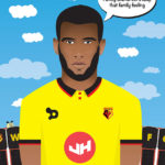 An image of a vector illustration of Watford Football Club player Etienne Capoue.