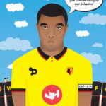 Vector illustration of Watford Football Club player Troy Deeney.