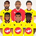 A selection of vector Illustrations of Watford Football Club players including, Troy Deeney, Etienne Capoue, Daryl Janmaat, Isaac Success, Roberto Pereyra and Heurelho Gomes.