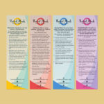 Image of four bookmark designs to promote mental health awareness for company United Minds.