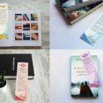 Mock ups of four bookmarks designed for United Minds.